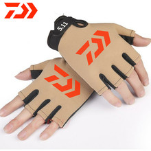 2021 New Daiwa Gloves Camouflage Half Fishing Gloves Breathable Hunting Anti-Slip Outdoor Camping Cycling Finger Sport Gloves