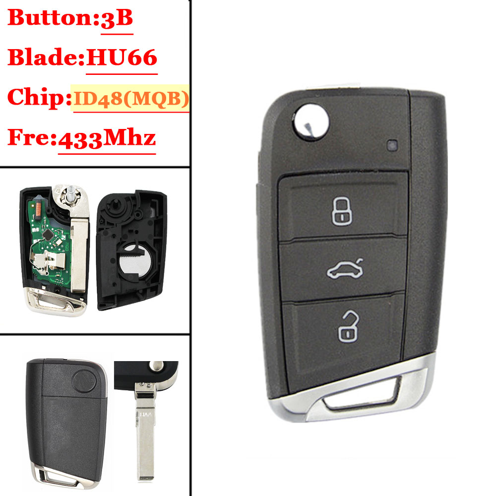1PCS  Car Flip g Remote Key  434MHz with ID48 Chip for V-W Skoda Octavia A7 MQB Golf VII Golf7 Golf MK7 2017 Not Smart