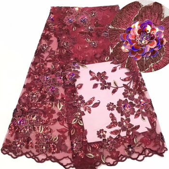 wine red African tulle mesh lace soft French lace fabric with 3D sequins embroidery high quality for party dress 7colors FZZ467