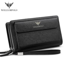 2019 New WILLIAMPOLO Genuine Leather Long Wallet Men Clutch Bag Strap Flap Clutches with 21 Card Holder Handy For Male