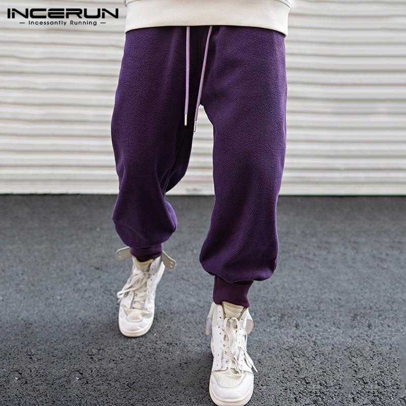 INCERUN Fashion Men Casual Pants Joggers Loose Solid Fleece Winter Trousers Men Streetwear Drawstring Harem Pants Sweatpants 5XL