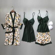 Весна осень женские шелковые пижамы наборы с нагрудными подушечками цветочный принт пижамы 4 шт Спагетти ремень атласные пижамы