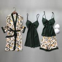 2020 весна осень женские шелковые пижамы наборы с нагрудными подушечками цветочный принт пижамы 4 шт Спагетти ремень атласные пижамы