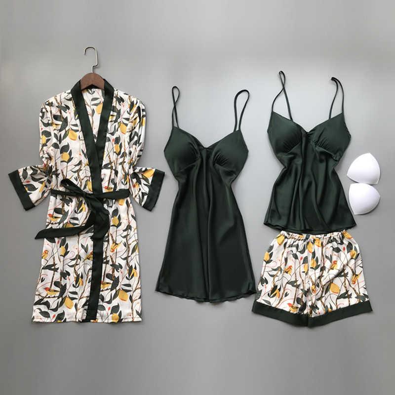 2020 ฤดูใบไม้ผลิฤดูใบไม้ร่วงฤดูใบไม้ร่วงผู้หญิงผ้าไหมชุดนอนชุดหน้าอก Pads ดอกไม้พิมพ์ Pijama ชุดนอน 4 ชิ้นสายสปาเก็ตตี้ชุดนอนซาติน