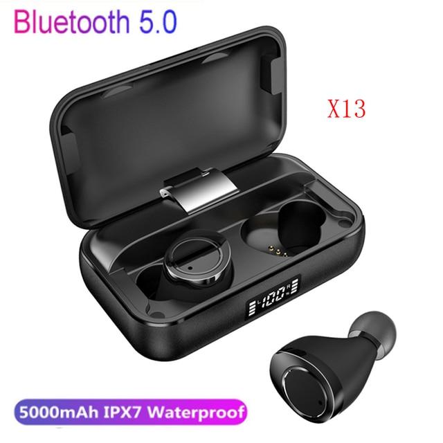 TWS X13 vano trasduttore auricolare senza fili Bluetooth 5.0 con display di potenza della batteria 5000mAh touch IPX7 impermeabile di tocco di controllo