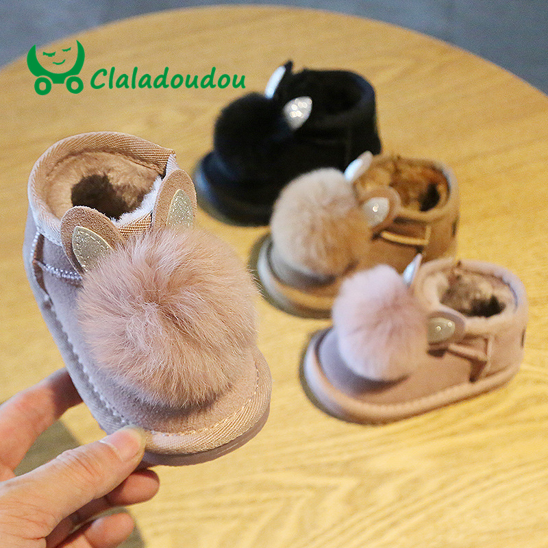 Claladoudou 12-14cm Brand Genuine Leather Toddler Girl Snow Boots Cute Pompom Rubber Boots Kids Warm Girls Boots With Fur Shoes