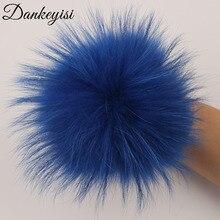 DANKEYISI al por mayor 100% pompones de pelo auténtico 13cm DIY mapache de piel de zorro Pom Poms piel bolas para tapas bufanda accesorios de zapatos 5 unids/lote