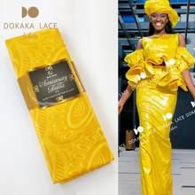 Amarelo 2020 alta qualidade guiné jacquard bazin riche tecido estilo macio 100% algodão brilho bacia riche casamento vestido de noiva tecidos