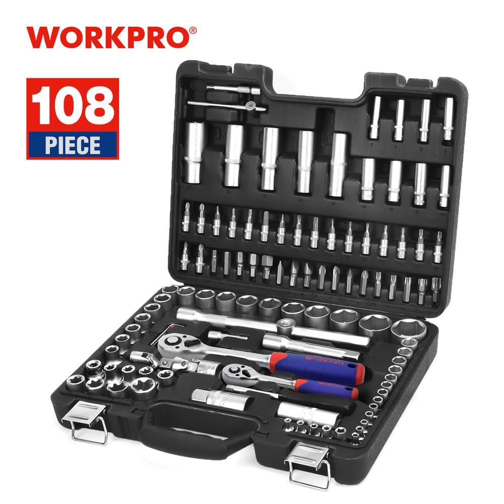 WORKPRO 108PC 공구 세트 자동차 수리 도구 정비공 도구 세트 무광택 도금 소켓 세트 래칫 스패너 렌치