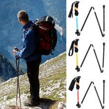 Portable Handle Camping Aluminum Alloy Folding Walking Trekking Hiking Stick Pole hiking stick crutches недорого