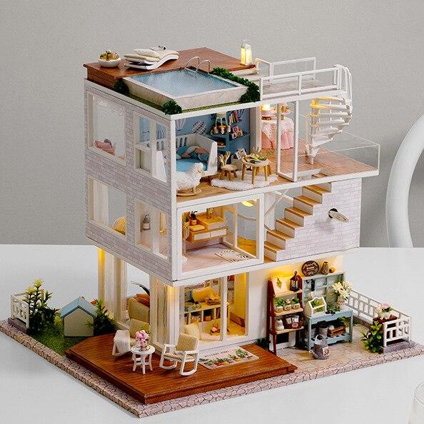 Avoir une belle journée maison de poupée créative en bois maison de poupée assemblage modèle de construction Miniature avec des meubles lumière LED artisanat à la main