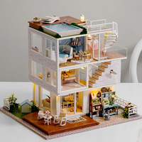 Have A Nice Day Doll House Creative Wooden dollhouse Assembly Model Building Miniature With Furniture LED Light Handmade Crafts