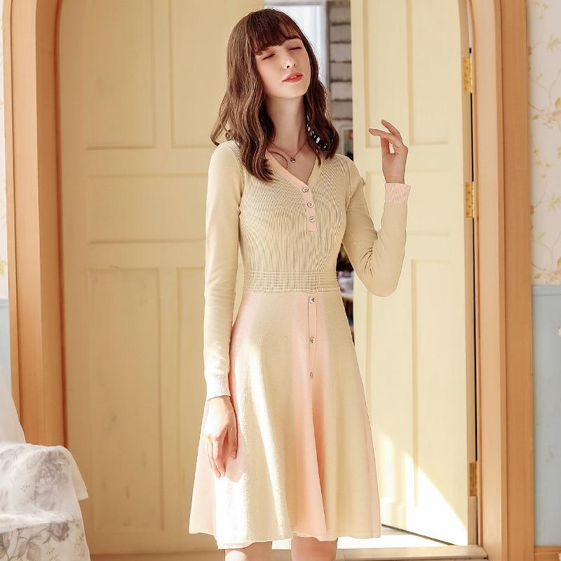 2020 Autumn New Women's Elegant V-neck Long Sleeve A- Line Dress Lady Slimming Knitted Dress