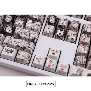 Image 5 - 108key Ahegao OEM PBT Keycaps Dye Sublimation Japanese Ukiyo e Anime keycap For Cherry Gateron Kailh Switch Mechanical Keyboard
