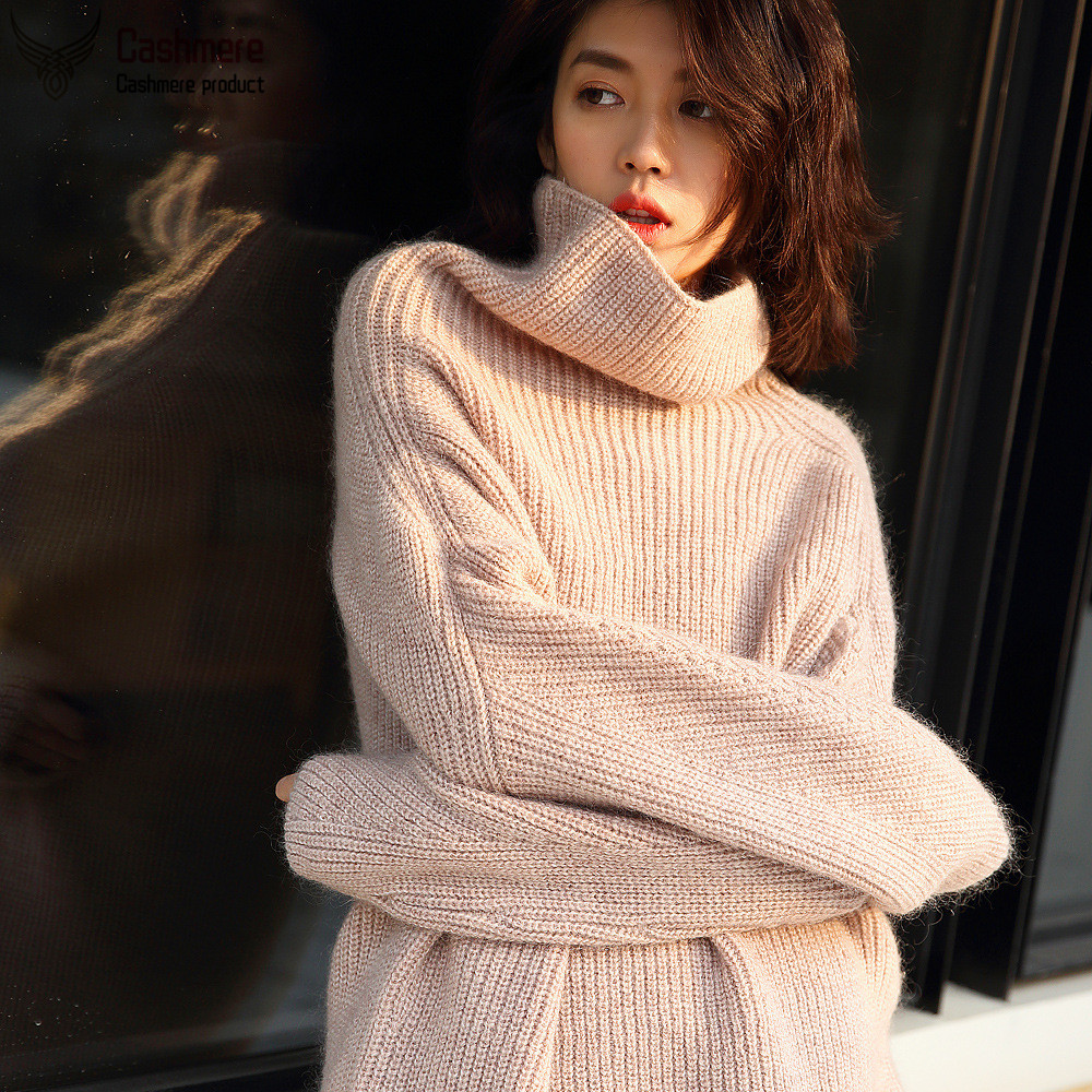 Korean version thick warm sweater female autumn winter high collar pullover mohair wool sweater female white red sweater female