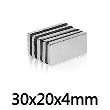 5/10/20/30/50PCS 30x20x4mm Rare Earth Magneten Dicke 4 Block Rechteckigen Topf Magneten 30*20*4mm Permanent Neodym Magnet