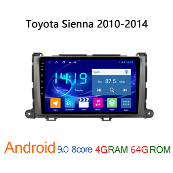 4G+64G car radio for Toyota Sienna 2010 2014 android multimedia GPS navigation auto audio coche player stereo autoradio central image