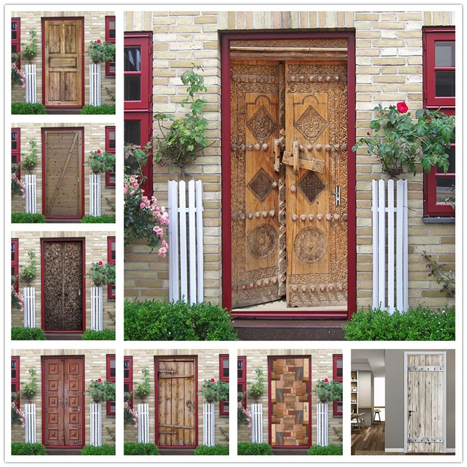 2pcs/set Retro Wooden Door Sticker Vinyl Peel And Stick Wallpaper Waterproof Removable Stickers Porte Home Design Adesivo Porta