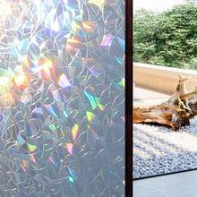 45cmX100cm 3D No Glue Static Decorative Privacy Window Rainbow Films for Stained Glass Self-Adhesive Film Anti UV Glass Sticker(China)
