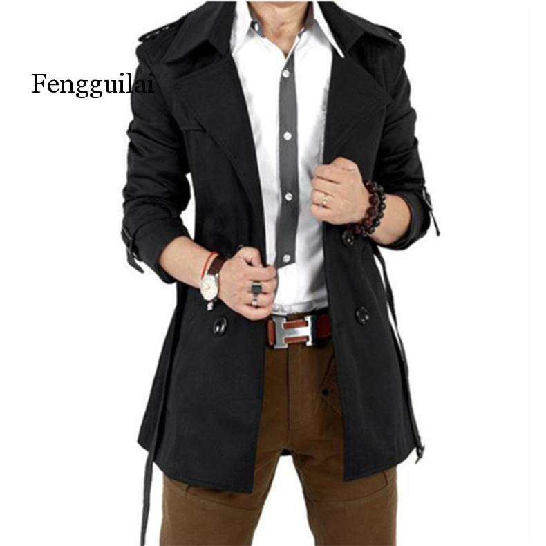 Trench Coat Men Autumn Spring Double Breasted Men Outerwear Casual Coat Men's Jackets Windbreaker Mens Trench Coat