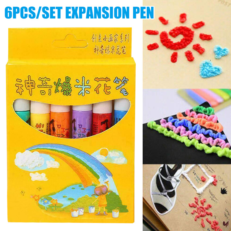 6pcs Multifunctional Heated Magic Popcorn Puffy Safe Painting Pen DIY 3D Paint Brushes Kids Childrens Drawing Toy Art Supplies