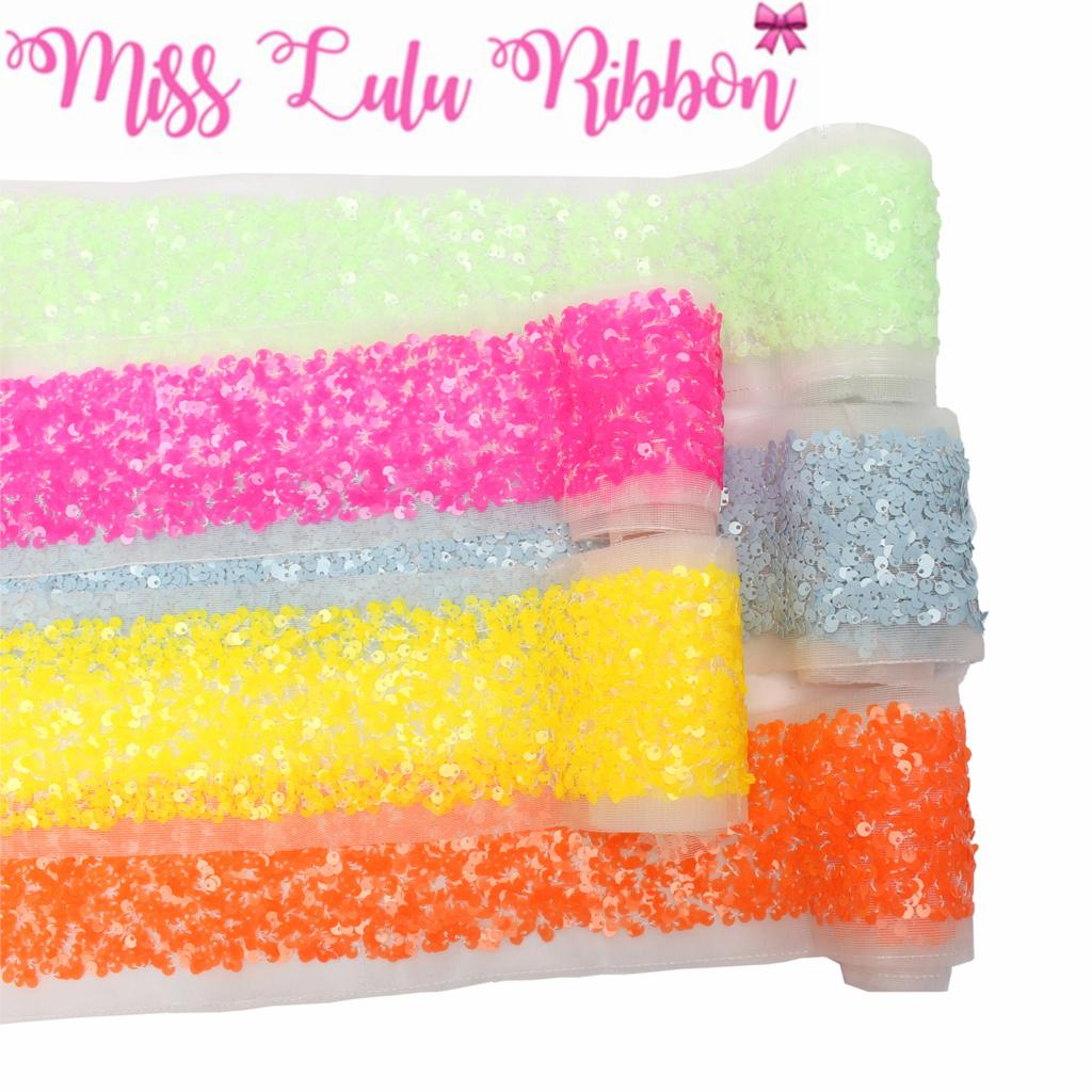 """3""""75mm Scatter Sequin Ribbon (Back Side with Tulle, 9.5cm Width Added 1cm Edge Both Side) 25.5yards/Pack(3*8.5y/r) Hair Bowknots-in Ribbons from Home & Garden    1"""
