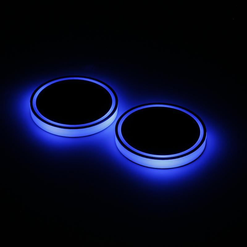 2X Car LED Light Cup Holder Automotive Interior USB Colorful Atmosphere Lights Lamp Drink Holder Anti-Slip Mat Auto Products