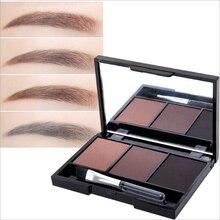 3 цвета оттенок для бровей макияжная Палитра набор кистей с зеркалом водостойкая пудра для бровей Косметика Макияж для бровей
