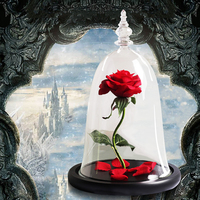 2019 Christmas Gift Beauty And Beast Rose Flower In Glass Dome Valentine's Day Present Artificial Flowers Decoration