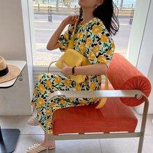 Хлопковое платье с цветочным рисунком; Желтое платье; Длинное