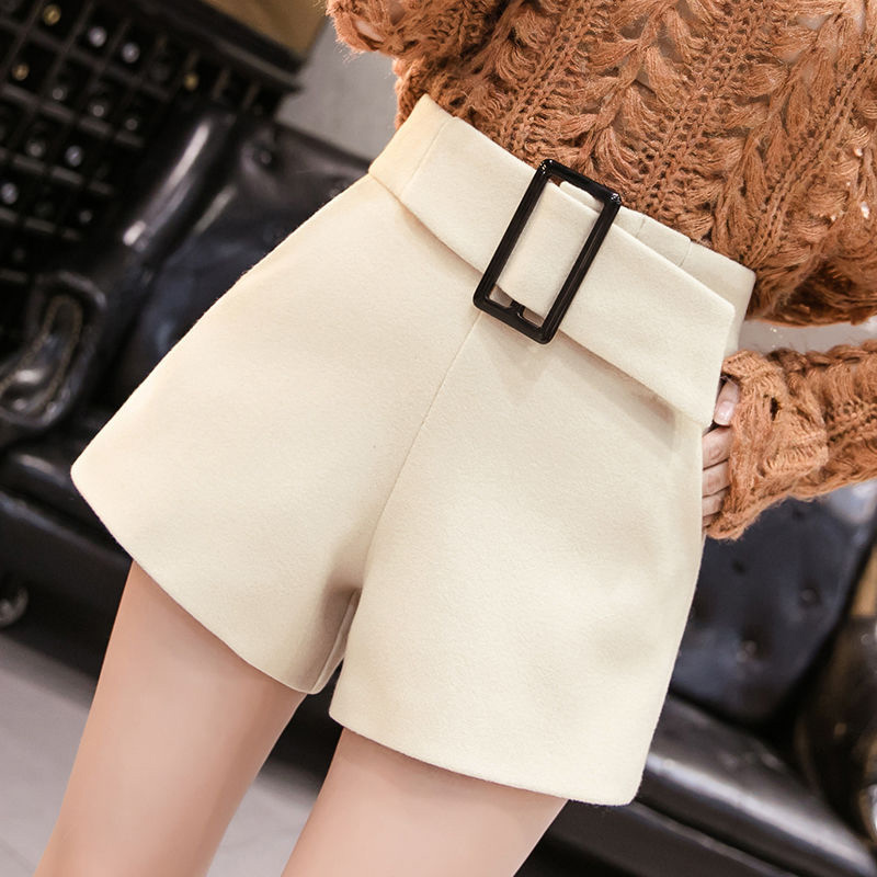 Women Short Pants 2020 New Style Fashion High Wasit Woollen Outerwear Slim Large Size Shorts Autumn Winter Wool Shorts Skirts
