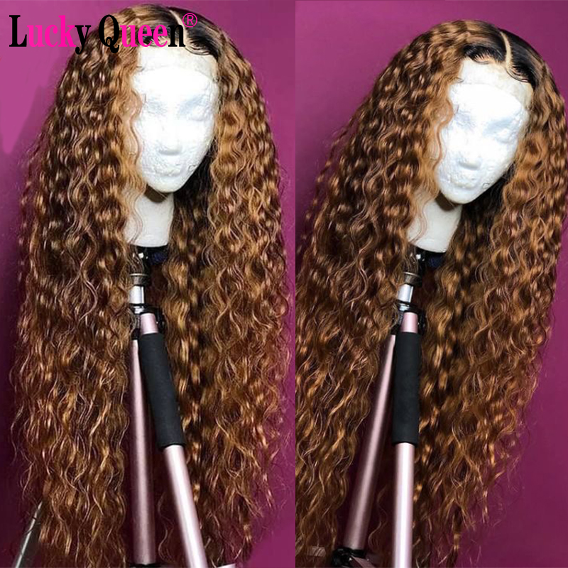 T1b/30 Color Glueless 13x4/13x6 Lace Front Wigs Pre Plucked For Black Women Lucky Queen Brzailian Deep Wave Remy Human Hair Wigs