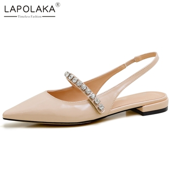 Lapolaka 2020 New Fashion Genuine Cow Leather Pointed Toe Slip-On Casual Sandals Woman Shoes Crystal Low Heels Summer Sandals
