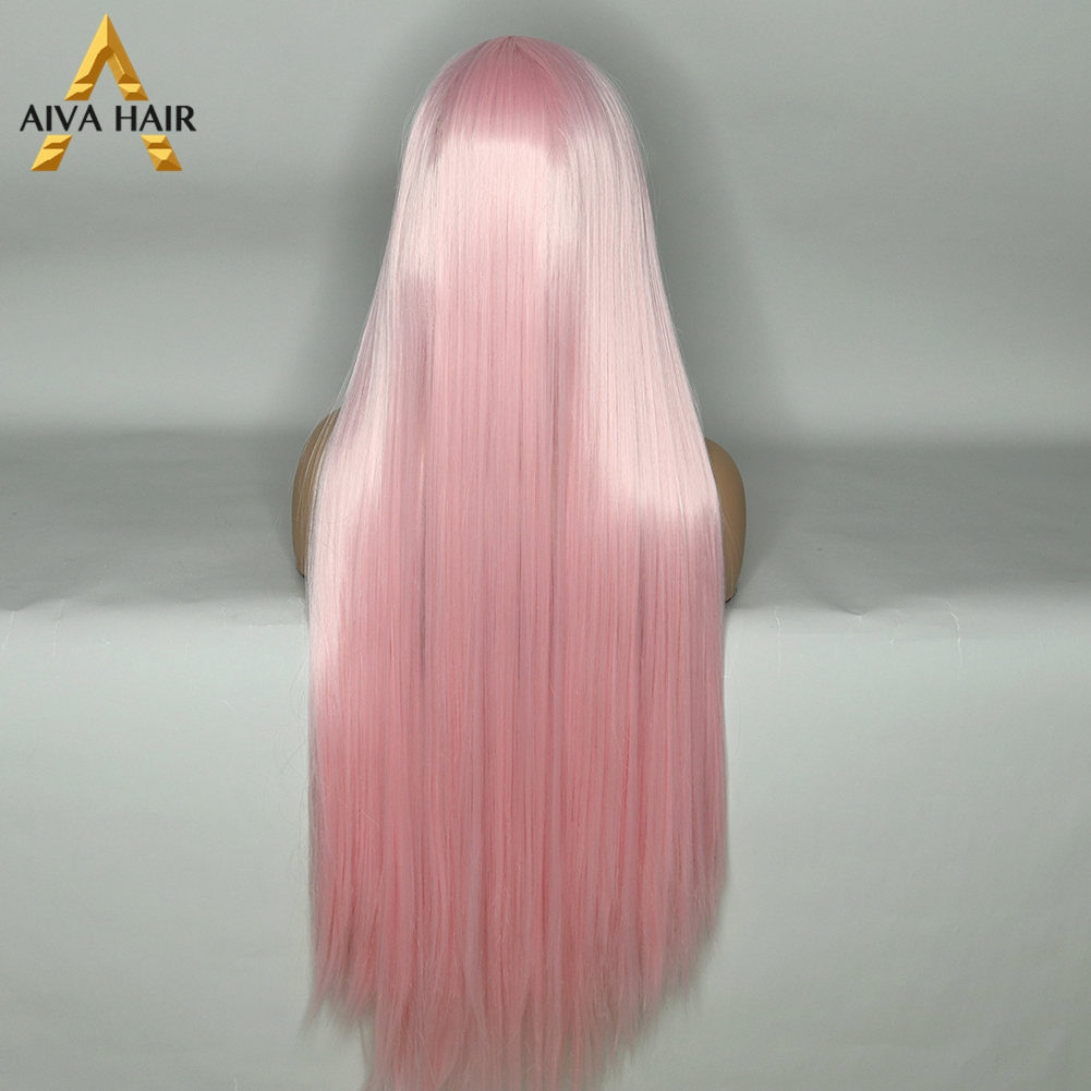 Peruca aiva de cabelo sintético, peruca longa,