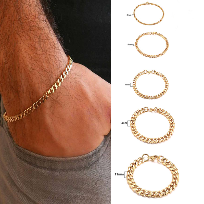 Men's Bracelet Curb Cuban Link Chain Stainless Steel Mens Womens Bracelets Bangle Gold Tone No Fade 3mm to 11mm(China)