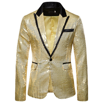 New Men Bridegroom Blazers Suit Sequin Glitter Show Blazer Lapel Coat Slim Jacket Men Clothes Wedding Party Top Blazer Plus Size 1