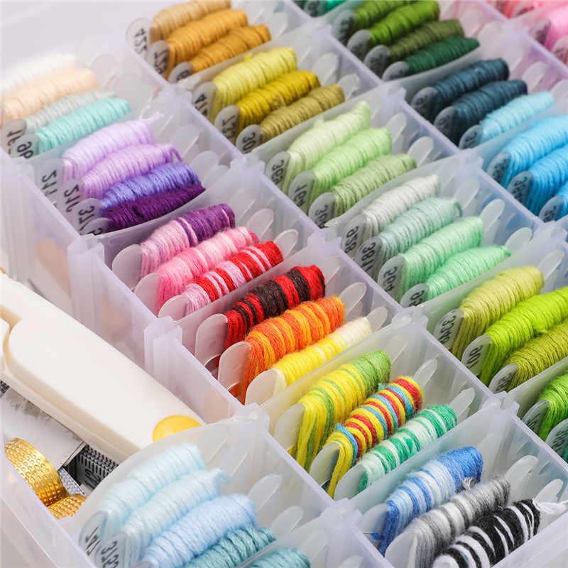 108 Kleuren Borduren Cross Stitch Floss Draad Kit Met Threader Klossen Naaien Accessoires Opbergdoos Vriendschap Armband Tool