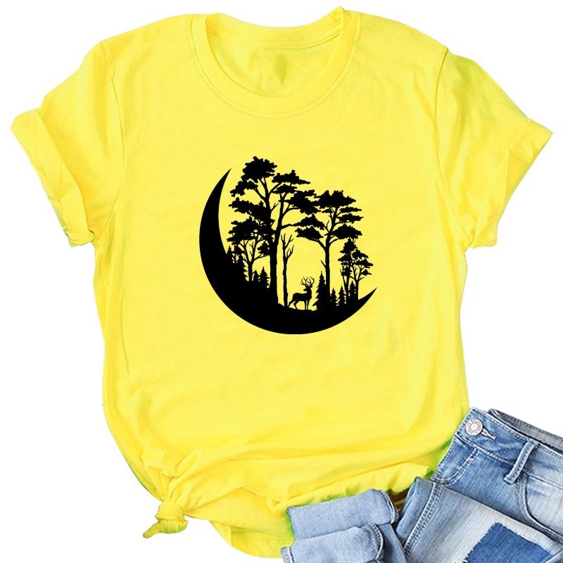 Форес Луна забавные дорожные Женская хлопчатобумажная рубашка размера плюс Графические футболки с короткими рукавами, с круглым вырезом, т...