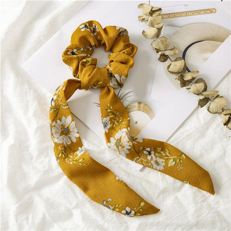 Богемные резинки для волос в горошек с цветочным принтом и бантом, женские эластичные резинки для волос, повязка-шарф, резинки для волос, аксессуары для волос для девочек - Цвет: Floral 1