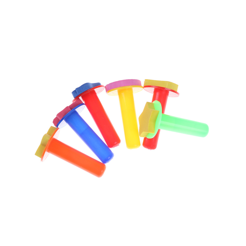 6pcs/Set Plastic Sponge Painting Brush Children Painting Brush Flower Stamp Children DIY Graffiti Drawing Brush