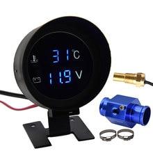 Автомобильный цифровой светодиодный датчик температуры воды-10-110 градусов Цельсия с датчиком температуры воды 10 мм адаптер 1/8NPT вольтметр 2 ...