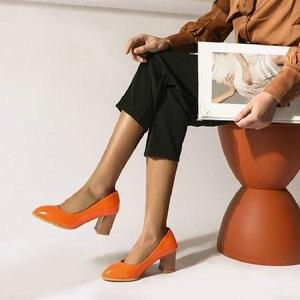 Image 5 - Sianie Tianie patent PU deri düz renk sarı orange bayan ayakkabıları blok bayanlar pompaları sapato feminino düğün ayakkabı boyutu 46