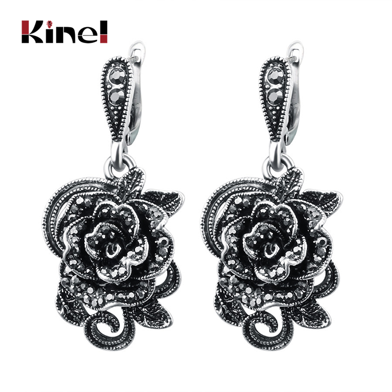 Kinel Vintage Crystal Rose Flower Drop Earrings For Women Antique Silver Color Black CZ Fashion Jewelry Earrings Gift