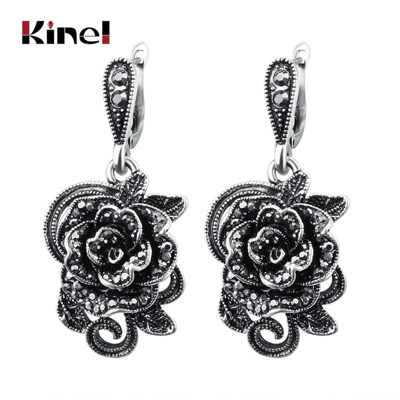 Kinel Vintage Crystal Rose Flower Drop Earrings For Women Antique Silver Color Black CZ Fashion Jewelry Earrings Gift