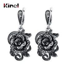 Kinel Vintage cristal Rosa flor gota pendientes para mujer antiguo Color plata negro CZ moda joyería pendientes regalo