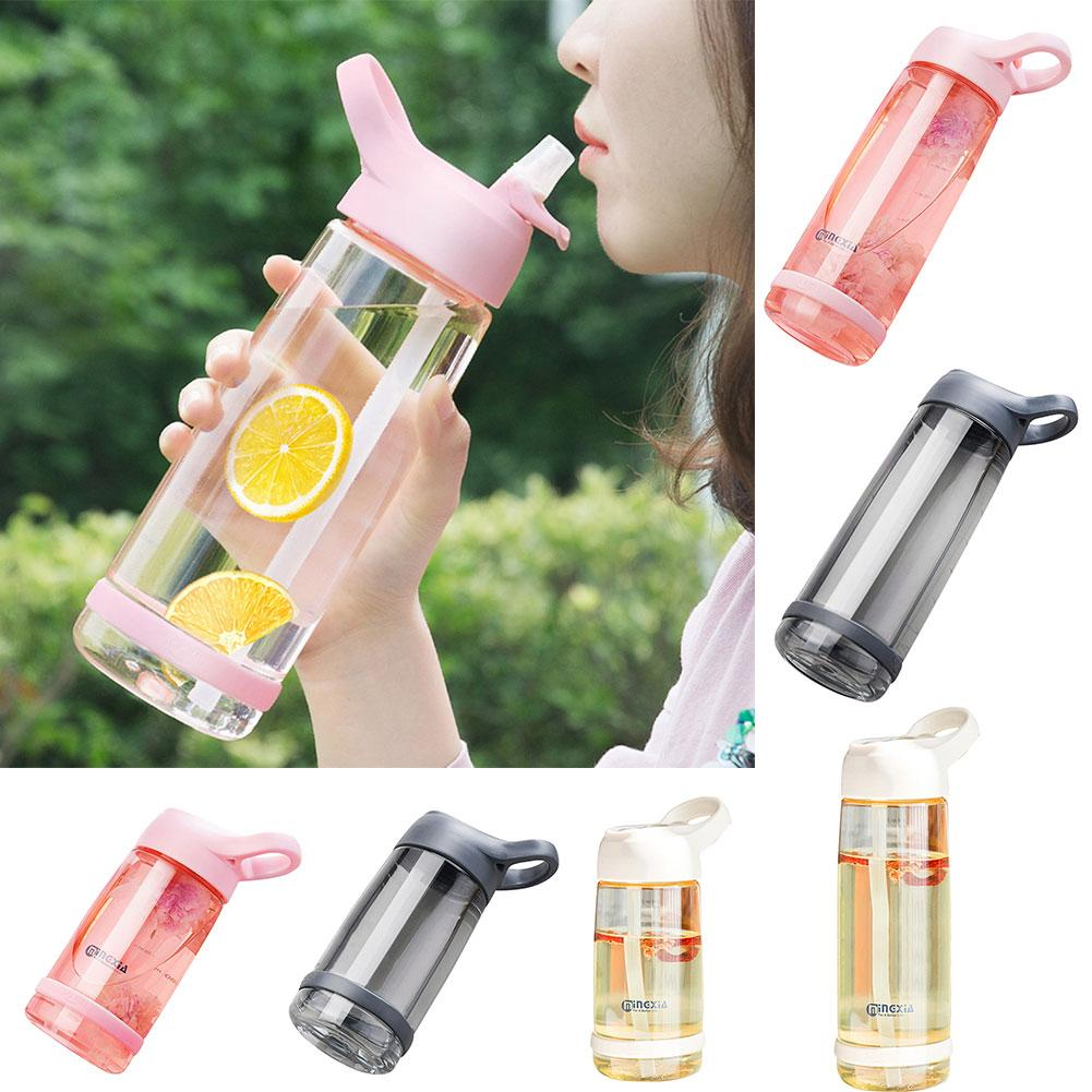 600//1000ML Portable Sport Camping Cycling Travel Glass Juice Straw Water Bottle