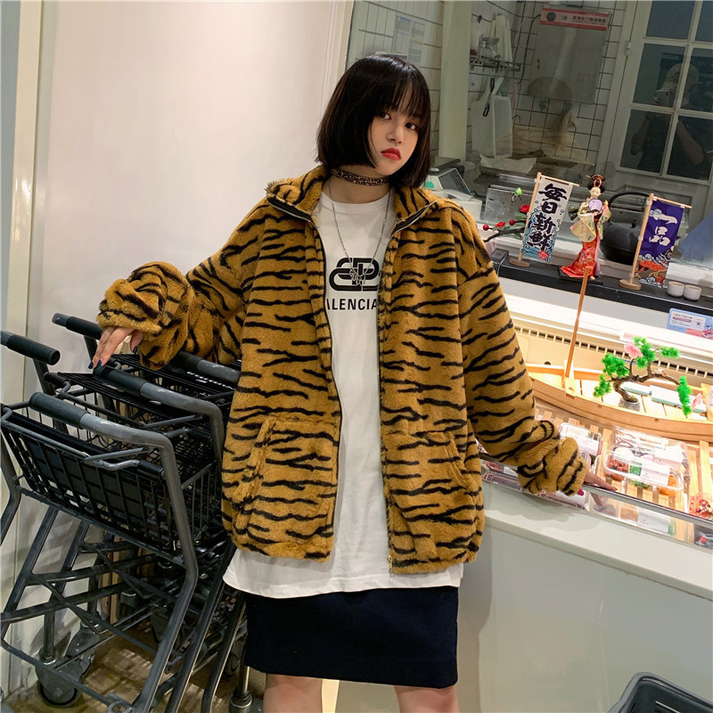 Focal20 Streetwear Zebra Tiger Pattern Women Zipper Jacket Retro Winter Warm Women Coats Fashion Plush Zipper Pocket Jackets 1