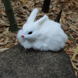 Image 4 - 15CM Mini realistyczne śliczne białe pluszowe króliki futro realistyczne zwierzę zając wielkanocny imitacja królika Model zabawkowy prezent urodzinowy
