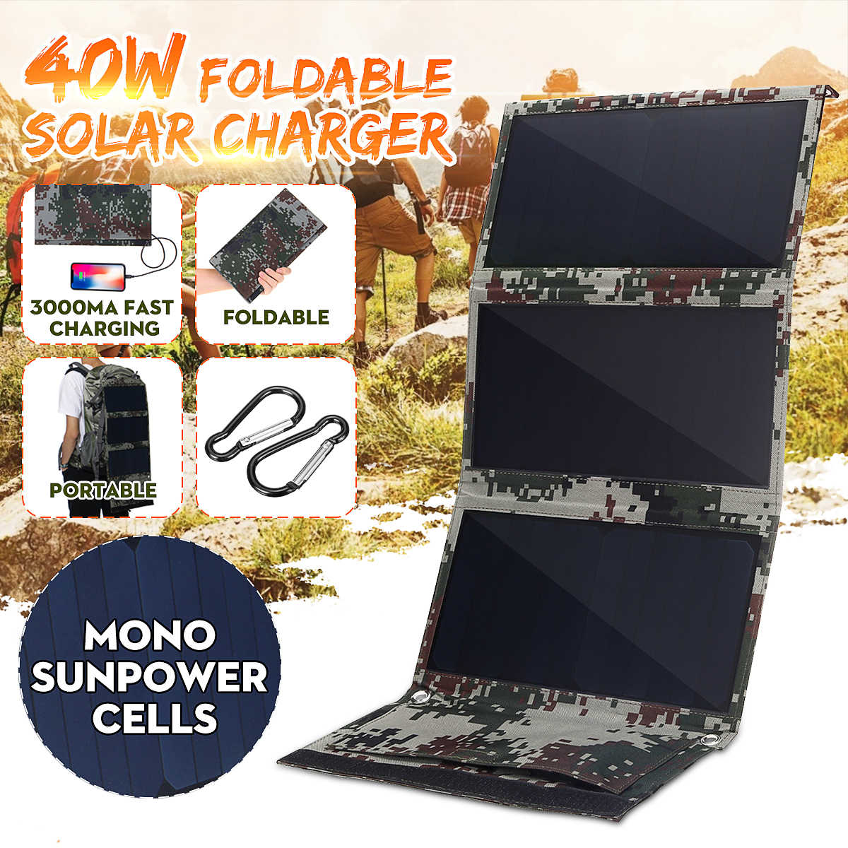 Newest 40W 5V Foldable Camouflage Sunpower Solar Cells Solar Panel Bank Pack Dual USB Waterproof for Backpack Camping Hiking