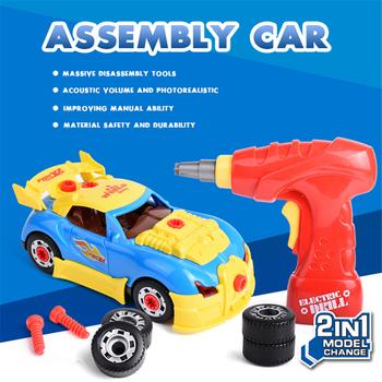 Chłopcy wiertarka zabawki udawaj zagraj w narzędzia budowlane dla 2 w 1 modelowanie montaż samochodów zestaw z dźwiękiem śruba narzędzie budowlane zabawki tanie i dobre opinie AODOIONO Z tworzywa sztucznego None Narzędzia ogrodowe zabawki 3 lat Elektroniczny Unisex Assembly Car Kit